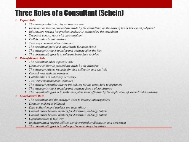 Roles of Organizational Consultants