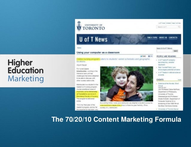 The 70/20/10 Content Marketing Formula Slide 1 The 70/20/10 Content Marketing Formula