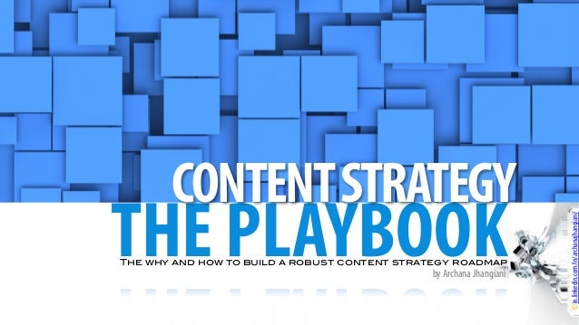 THE PLAYBOOK CONTENTSTRATEGY ©in.linkedin.com/in/archanajhangiani/ The why and how to build a robust content strategy road...
