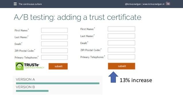 @kimvanwilgen   www.kimvanwilgen.nlThe continuous culture 15 A/B testing: adding a trust certificate 13% increase