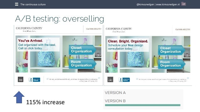 @kimvanwilgen   www.kimvanwilgen.nlThe continuous culture 17 A/B testing: overselling 115% increase