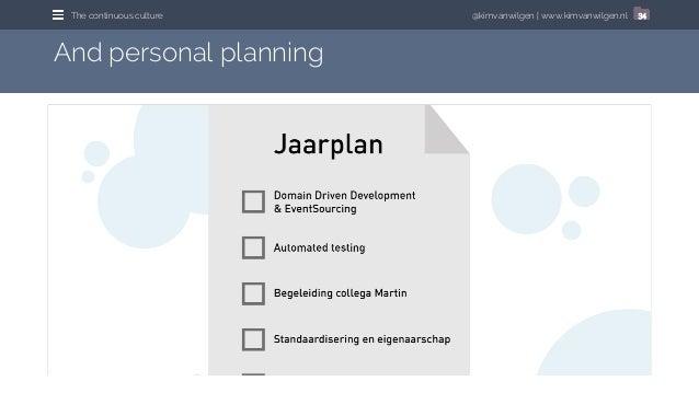 @kimvanwilgen   www.kimvanwilgen.nlThe continuous culture 34 And personal planning