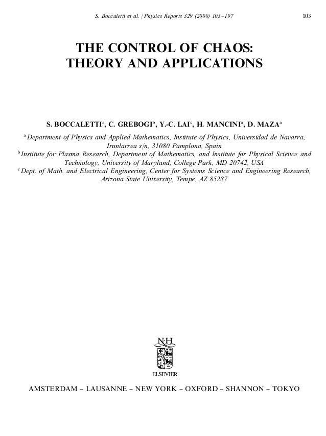 S. Boccaletti et al. / Physics Reports 329 (2000) 103}197            103               THE CONTROL OF CHAOS:              ...