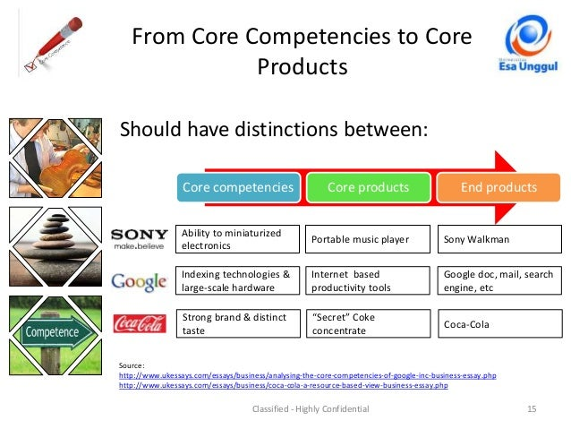 what is core competence Examples of core competencies include the abilities to empower others, communicate both verbally and in writing, manage change and persuade others.