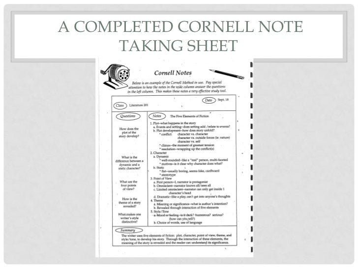 Cornell Style Notes Template  ApigramCom