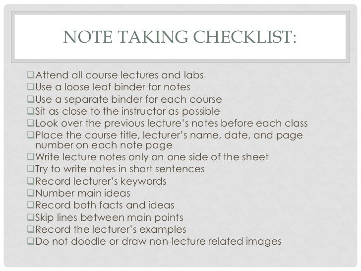 notes checklist