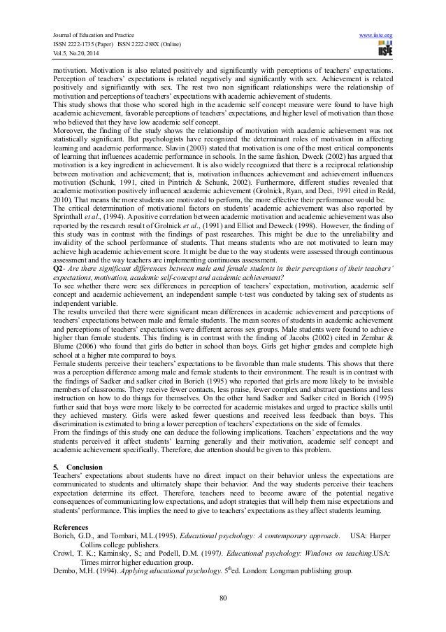 Journal of Education and Practice www.iiste.org ISSN 2222-1735 (Paper) ISSN 2222-288X (Online) Vol.5, No.20, 2014 80 motiv...