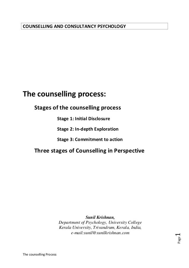 The Counselling Process Stages Of The Counselling Process