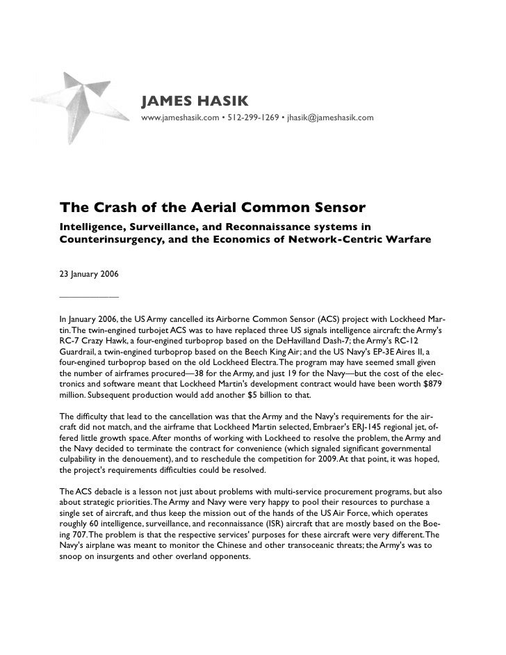 JAMES HASIK                       www.jameshasik.com • 512-299-1269 • jhasik@jameshasik.com     The Crash of the Aerial Co...