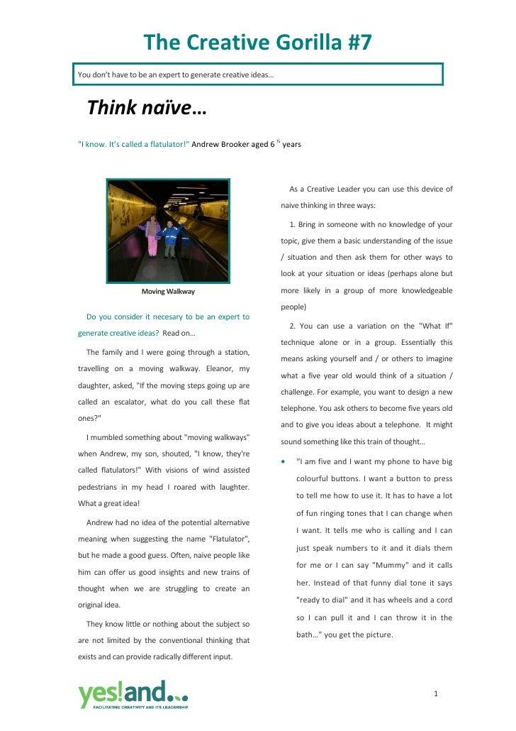 """TheCreativeGorilla#7 Youdon'thavetobeanexperttogeneratecreativeideas…        Thinknaïve… """"Iknow.It'sca..."""