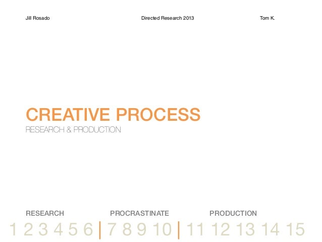 1 2 3 4 5 6 | 7 8 9 10 | 11 12 13 14 15Jill Rosado Directed Research 2013 Tom K. !CREATIVE PROCESS!RESEARCH & PRODUCTIONRE...
