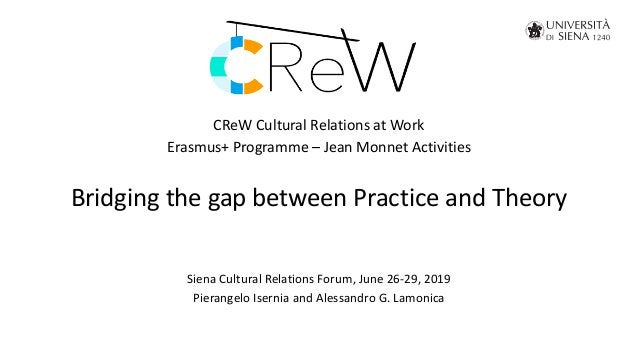 CReW Cultural Relations at Work Erasmus+ Programme – Jean Monnet Activities Bridging the gap between Practice and Theory S...