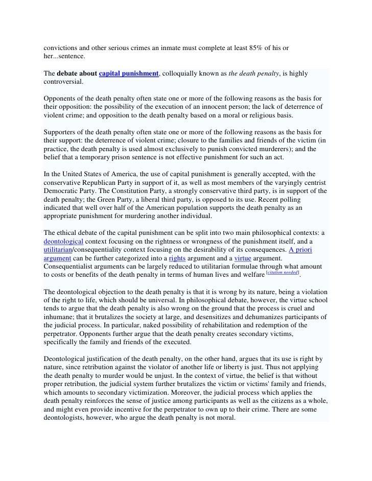 the debate over capital punishment essay