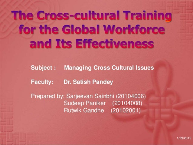 Subject : Managing Cross Cultural Issues Faculty: Dr. Satish Pandey Prepared by: Sarjeevan Sainbhi (20104006) Sudeep Panik...