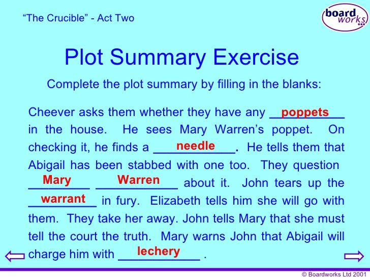 the crucible a synopsis Check out arthur miller's the crucible video sparknote: quick and easy the crucible synopsis, analysis, and discussion of major characters and themes in.