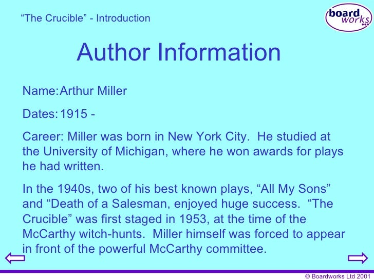 an analysis of mccarthyism in the crucible a play by arthur miller