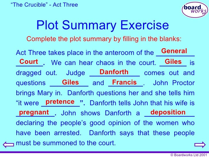 the crucible act summary This lesson provides an analysis of some important quotes from act 3 of arthur miller's 'the crucible' these quotes show the terrifying strength.