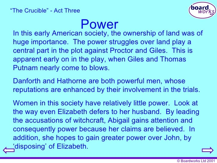 the crucible a struggle for power The crucible has 266,217 ratings the focus of the story is john proctor's struggle to redeem himself from the horrible guilt he has such is the power of those noticeable quotes in arthur miller's play the crucible the power to cause the audience to question the issues arising.