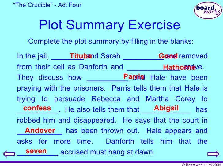 """the crucible play summary Thomas and ruth ______ arrive their daughter ruth is ill too parris abigail witchcraft dancing putnam """" the crucible"""" - act one 15 plot summary exercise complete the plot summary by filling in the blanks: mrs putnam talks of her seven ______ who died she suspects they were murdered by a witch."""