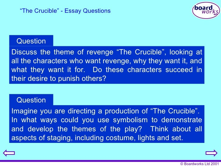 essay on revenge in the crucible The crucible theme essay - essays & dissertations written by top quality writers  use this  many different themes of revenge in the play, ben.