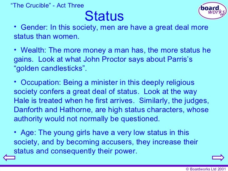the crucible gender role The skewed role of women in the crucible the outlook on gender roles in today's advanced society is in drastic contrast to the views portrayed in the crucible, set in salem, massachusetts, in 1692.