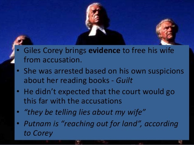 giles corey monologue the crucible Judge danforth is the foreboding ruler of salem's courtroom in arthur miller's 'the crucible' explore danforth's character in this witch trial tragedy.