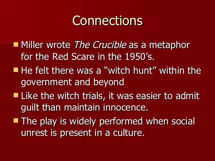 the crucible by arthur miller 9 essay In arthur miller's screenplay, the crucible, miller presents his opinions on the factual truth of the salem witch trials various events in arthur miller's screenplay reveal the theme of reputation as being a leading force in the developing plotlines of the story.