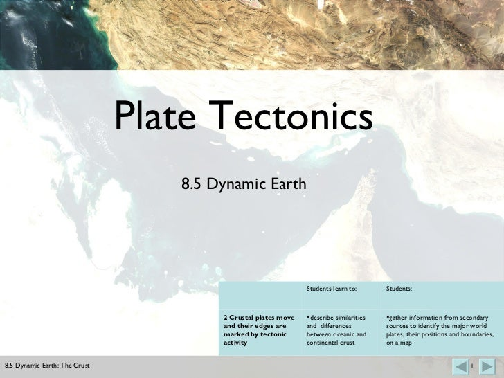 Plate Tectonics 8.5 Dynamic Earth <ul><li>gather information from secondary sources to identify the major world plates, th...