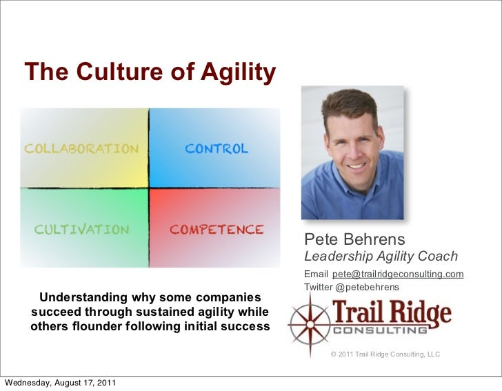 The Culture of Agility                                                 Pete Behrens                                       ...