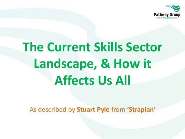 The Current Skills Sector Landscape, & How it Affects Us All As described by Stuart Pyle from 'Straplan'