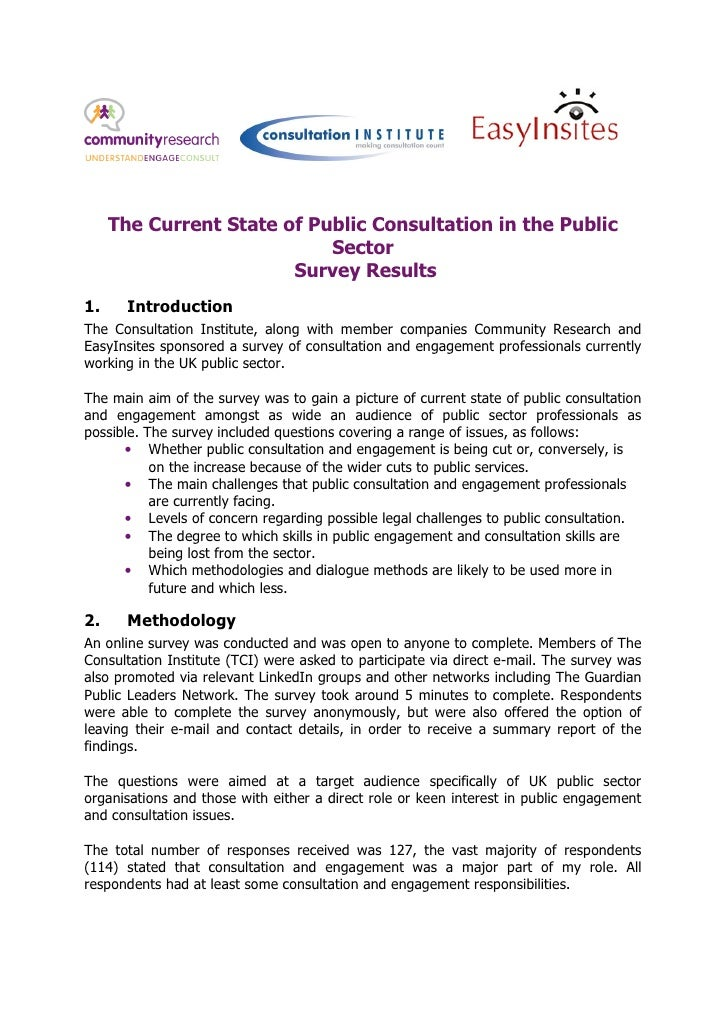 The Current State of Public Consultation in the Public                            Sector                        Survey Res...