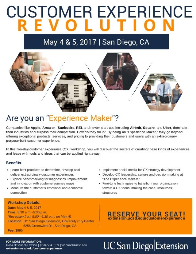 The Customer Experience Workshop at UC San Diego May 4 & 5