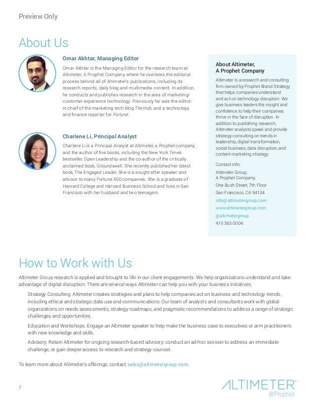 About Us How to Work with Us Altimeter Group research is applied and brought to life in our client engagements. We help or...