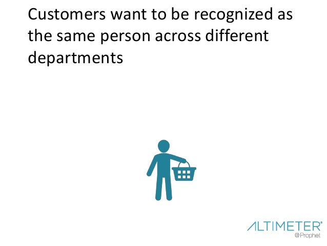 Customers want to be recognized as the same person across different departments