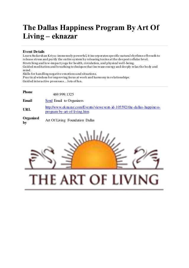 Lovely The Dallas Happiness Program By Art Of Living U2013 Eknazar Event Details Learn  Sudarshan Kriya: