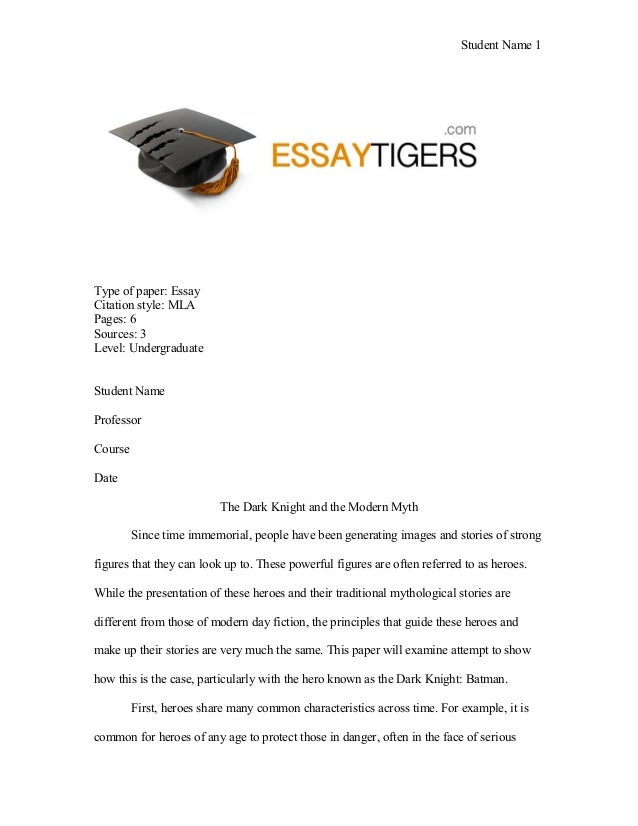 Good Science Essay Topics Student Name  Type Of Paper Essay Citation Style Mla Pages  Sources  Healthy Food Essays also Essay Thesis Statement Examples The Dark Knight And The Modern Myth Essay Sample Persuasive Essay Examples For High School