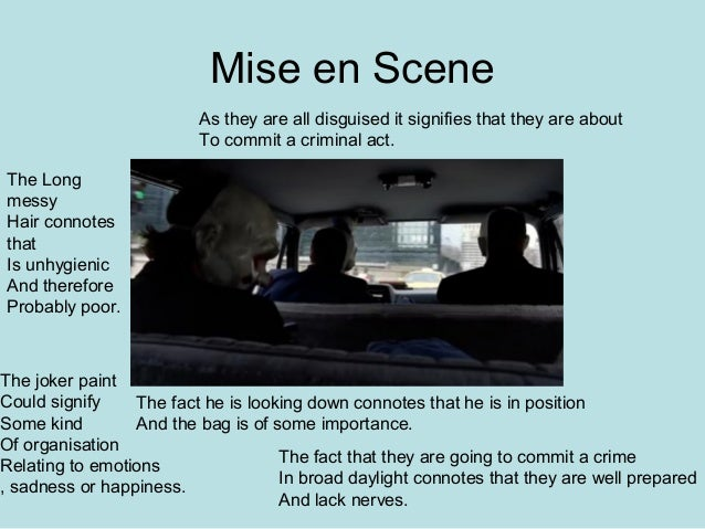 "mis en scene analysis on ""aspects of mise-en-scene"" what possibilities for selection and control does mise-en-scene offer the filmmaker we can mark out four general areas."