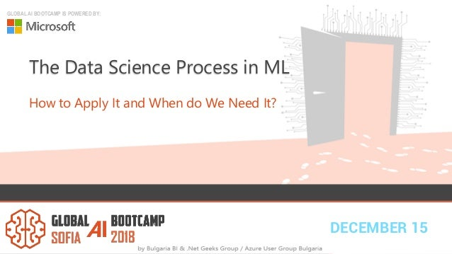 DECEMBER 15 GLOBAL AI BOOTCAMP IS POWERED BY: The Data Science Process in ML How to Apply It and When do We Need It?