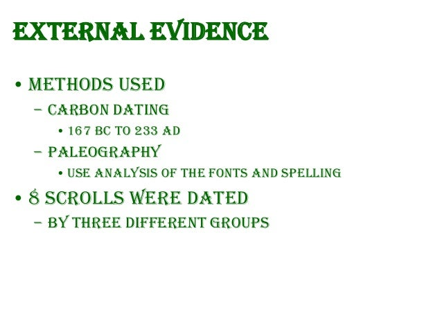 dead sea scrolls dating methods