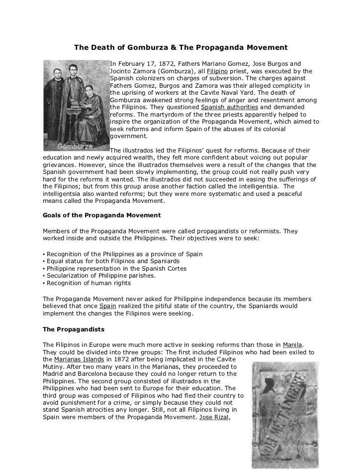 The Death of Gomburza & The Propaganda Movement<br /><br />left0In February 17, 1872, Fathers Mariano Gomez, Jose Burgos ...