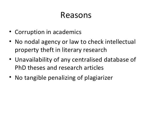 The issue of plagiarism and intellectual property theft