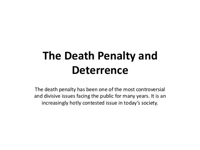 death penalty as a deterrence Any deterrence from an execution should affect the crime rate only in the executing state seven other states have adopted death penalty laws but have not executed anyone tennessee had its first execution in april 2000.