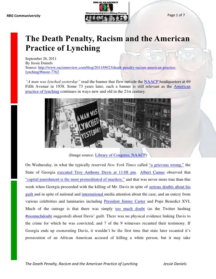 racism in the death penalty In the death penalty debate, it should be the facts, and not the hype, that  as the  argument goes, this must be evidence of systemic racism, as.