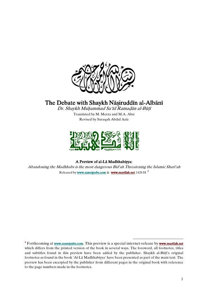 3              The Debate with Shaykh Nāјiruddīn al-Albānī                                     Nāјirudd al-               ...