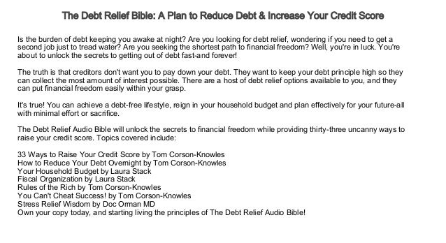 The Debt Relief Bible A Plan to Reduce Debt & Increase Your Credit Sc…
