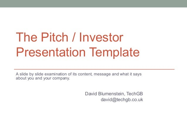 pitch investor deck template for start ups. Black Bedroom Furniture Sets. Home Design Ideas
