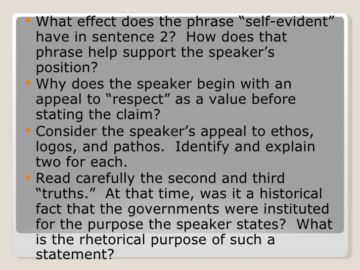 rhetoric appeal in the declaration of Throughout her declaration of conscience, senator margaret chase smith uses formal diction as well as the appeals of pathos and ethos to criticize the.