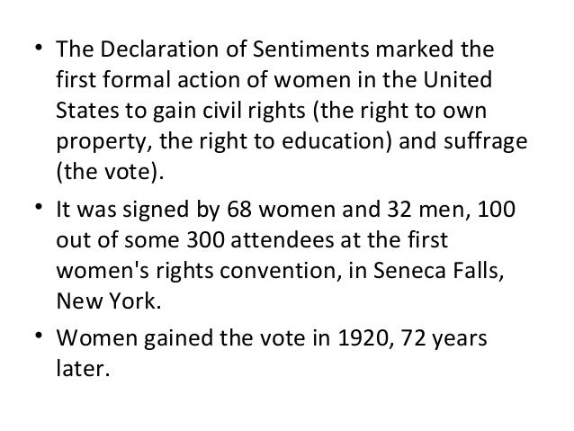 declaration of sentiments Unlike the seneca falls convention,  out that religious ideas provided a fundamental source for the declaration of sentiments  myth of seneca falls:.