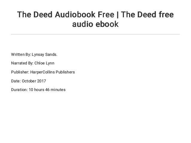 The Deed Audiobook Free The Deed Free Audio Ebook