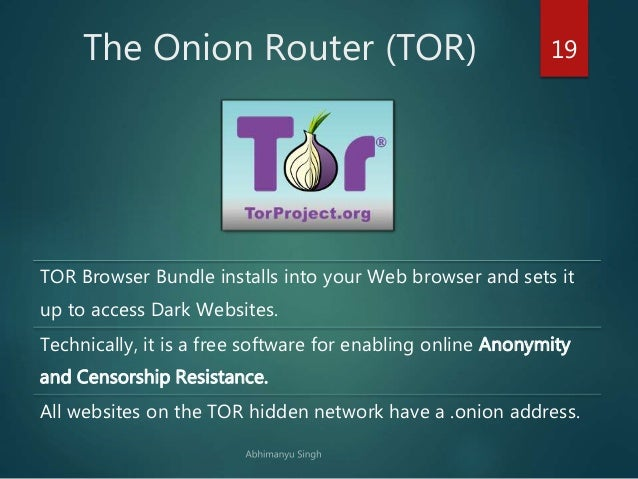 The Deep Web, TOR Network and Internet Anonymity